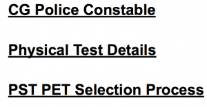 Chhattisgarh Police Constable Physical Eligibility Requirement PST PET