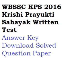WBSSC KPS Answer Key 2020 Download Solved Question Paper PDF