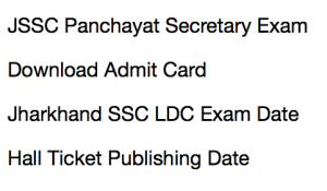 JSSC Panchayat Secretary Admit Card 2020 Download LDC Hall Ticket