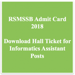 RSMSSB Informatics Assistant Admit Card 2020 Exam Date Hall Ticket Download