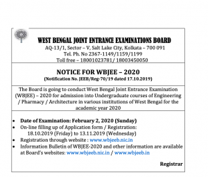 WBJEE Admit Card 2020 Download Link WB Joint Entrance wbjeeb.nic.in