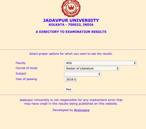 Jadavpur University Result 2021 Download