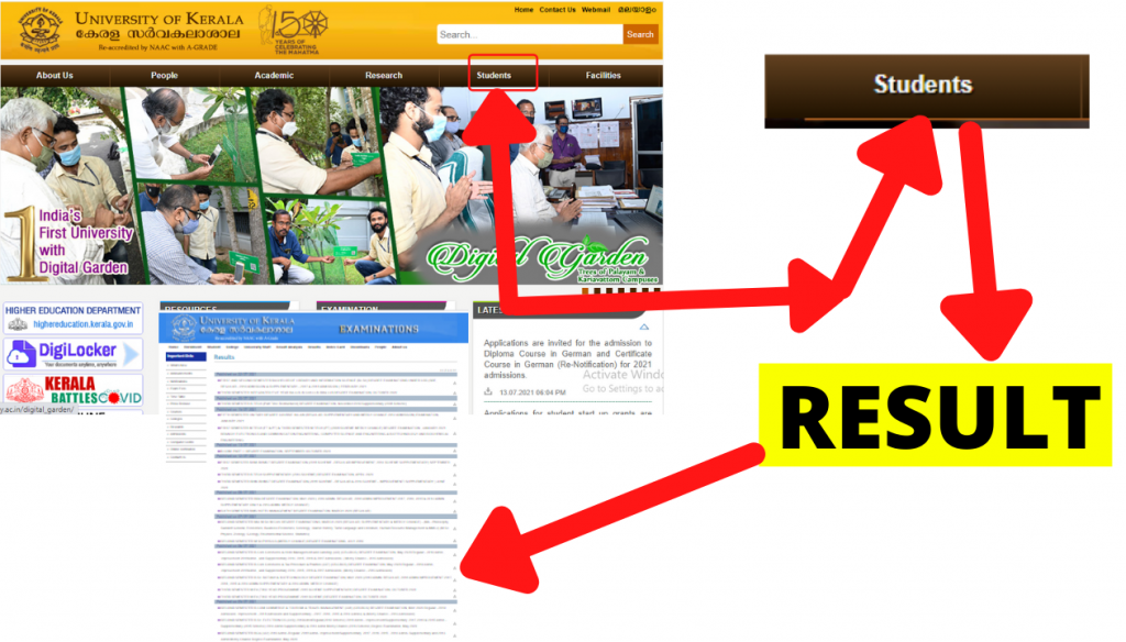 Kerala University Results 2021 {Out} 1st 2nd 3rd 4th 5th 6th Semester Result, How to check Online exam Result of Kerala University 2021,