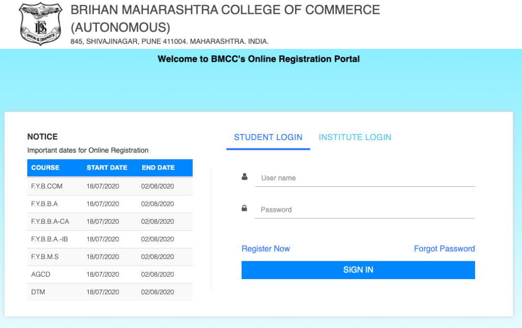 BMCC Pune Admission 2021 - Application form link for students