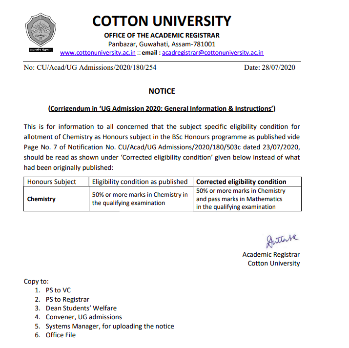 Corrigendum Notice Related to BA BSc Admission in Cotton University 2021-22
