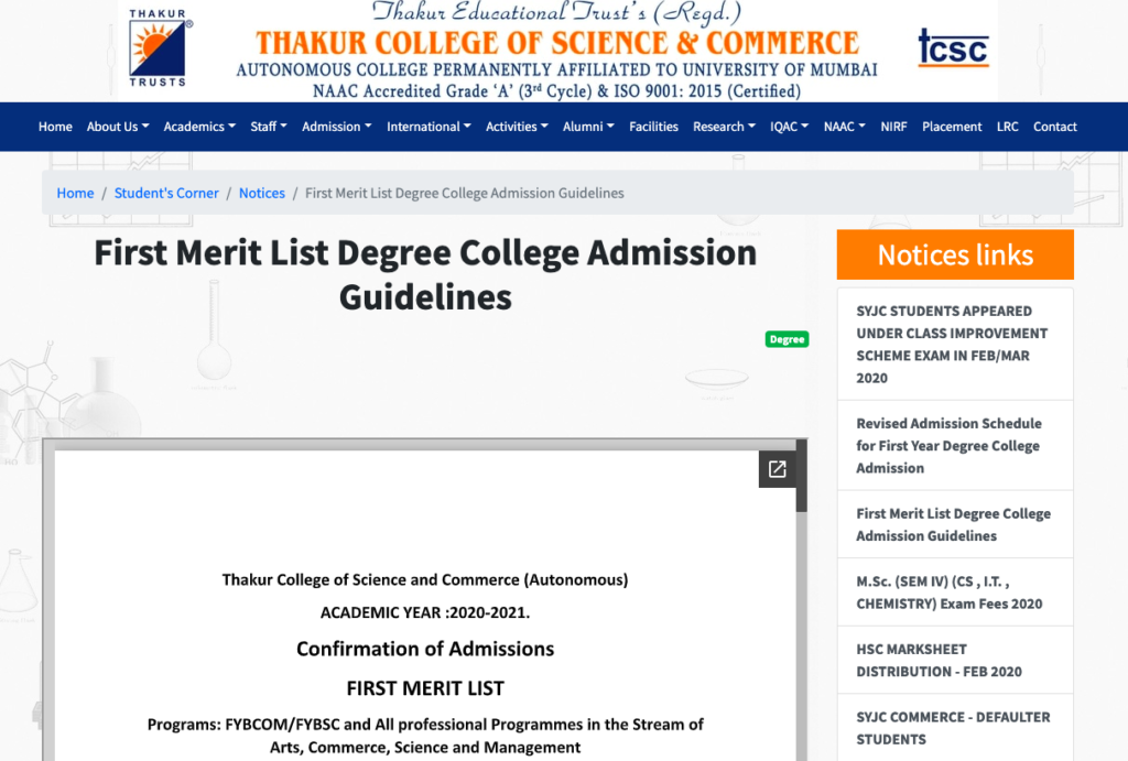 Thakur College Merit List 2021 Cut Off fyjc fybcom science commerce