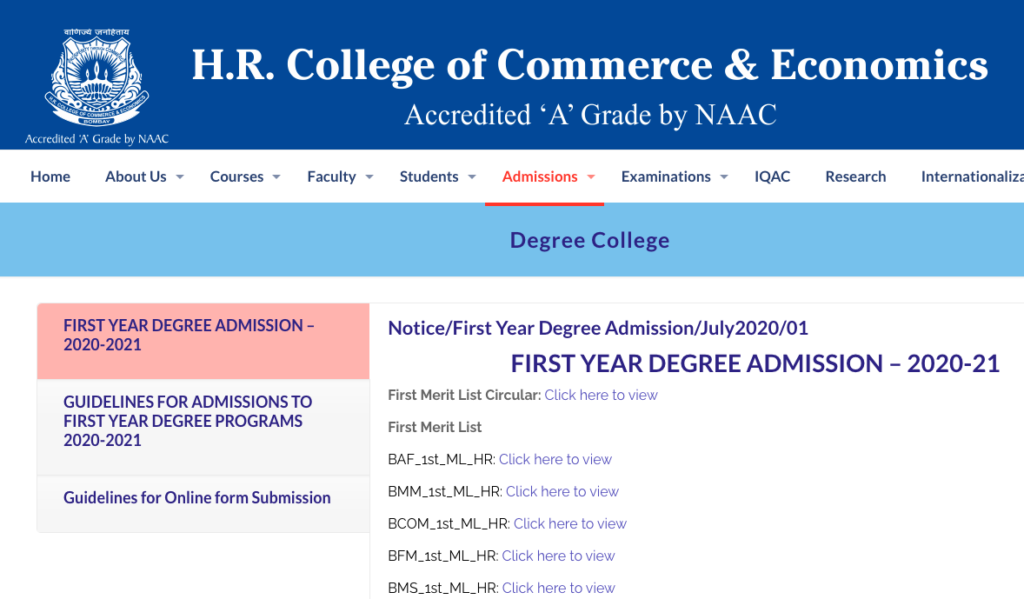 HR College Merit List 2021 Cut Off FYJC BMS FYBCOM Download