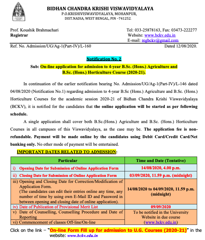 BCKV UG Admission Notice 2020-21 for 4 years BSC Agriculture & bSc horticulture