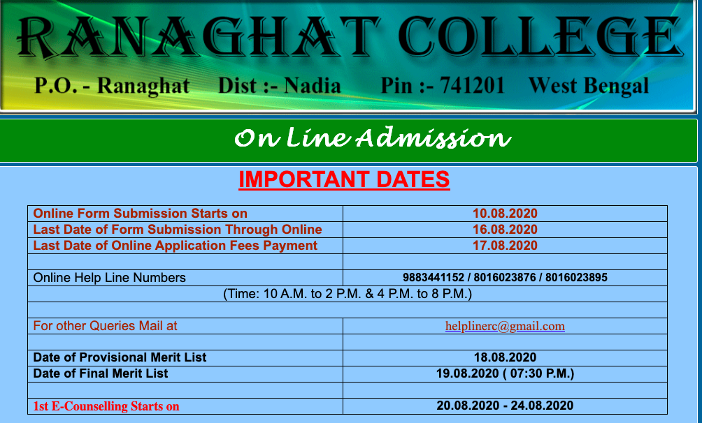 Ranaghat College Merit List 2021 Final Admission List {19 August}