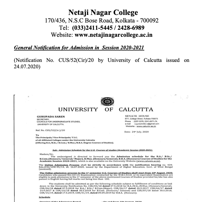 Netaji Nagar Evening College Merit List 2021 Night College Admission