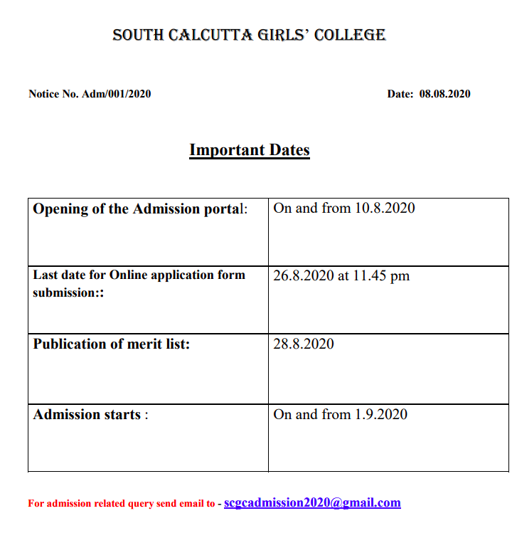 South Calcutta Girls' College Merit List 2021 BA BSC Admission Honours General