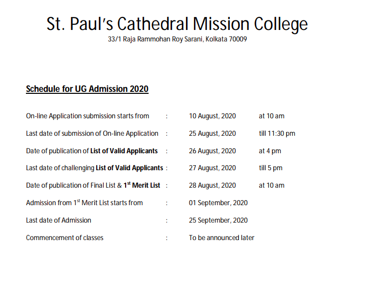 St Paul's College Merit List 2021 St Paul Admission List 26 August