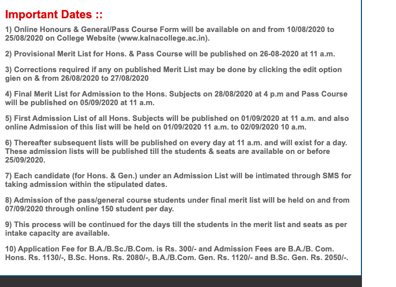 Kalna College Merit List 2021 Admission in BA BSC 1st Year