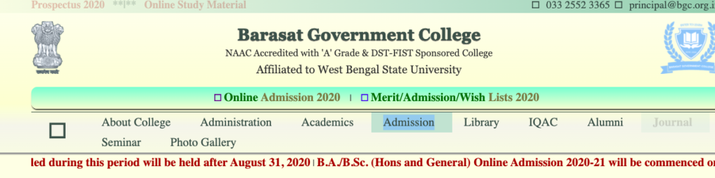 Barasat Govt College Merit List 2021 Final Admission List 29 Aug