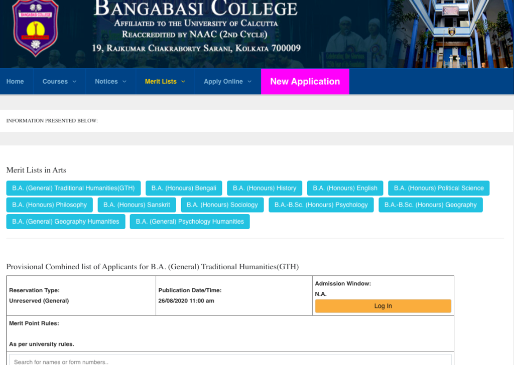 Bangabasi College Merit List 2021 {Provisional} 26 Aug - Live Update