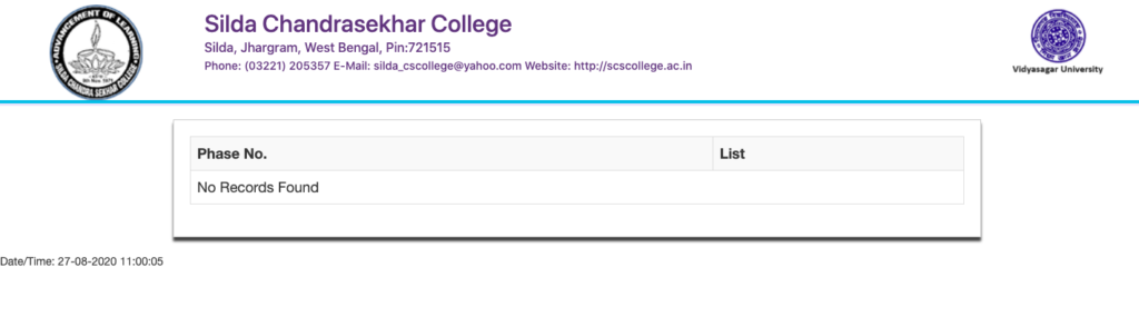Silda College Merit List 2021 27 August Provisional Admission List