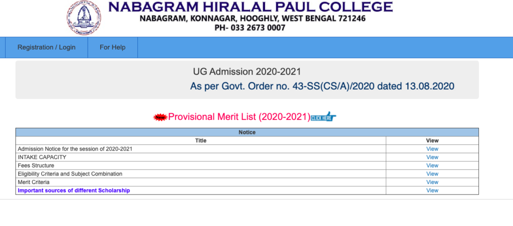 Nabagram Hiralal Paul College Merit List 2021 Admission List Out