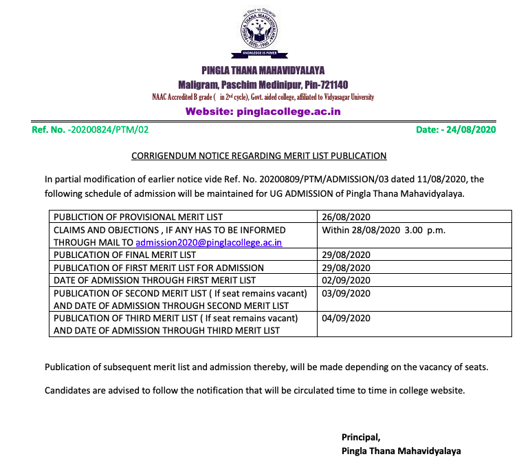 Pingla Thana Mahavidyalaya Merit List 2021 (out) Final / 1st Admission List