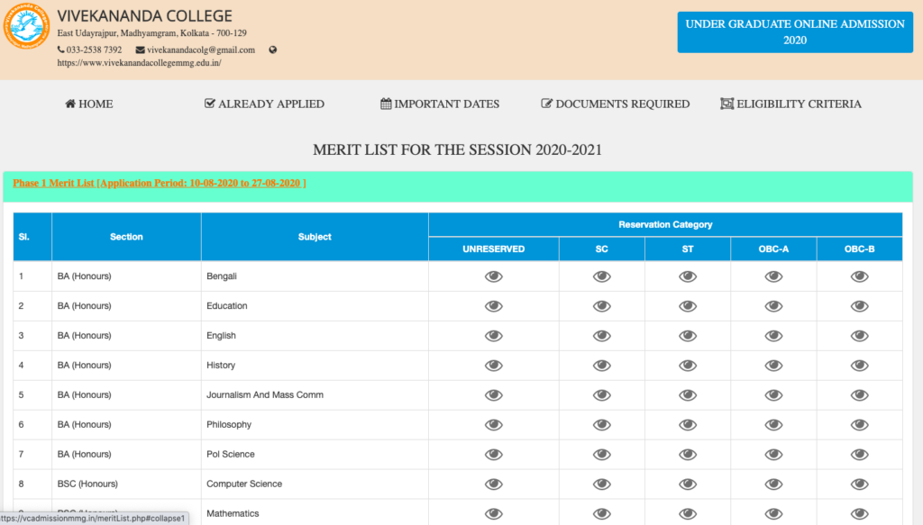 Vivekananda College Madhyamgram Merit List 2021 {out} Admission 29 Aug