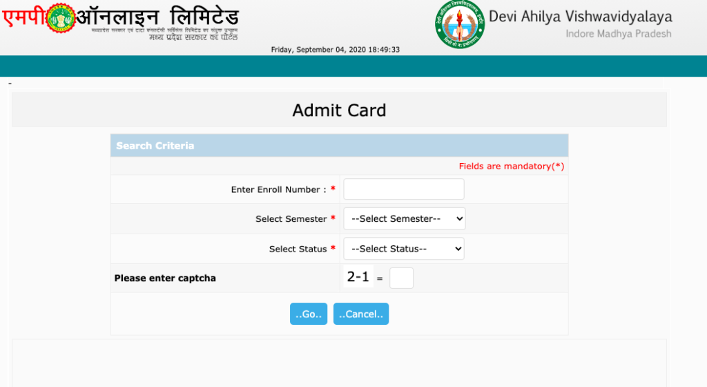 DAVV Admit Card 2021 OUT!! BA BSc BCom Sem Exam - Available Now