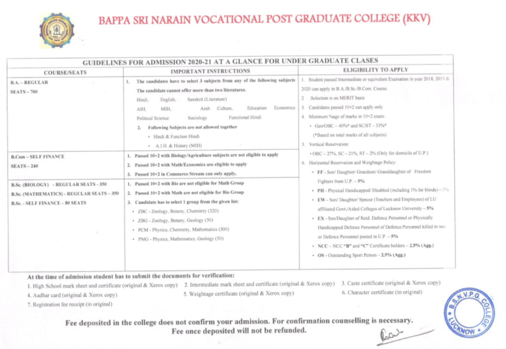 kkv college admission counselling 2021-22