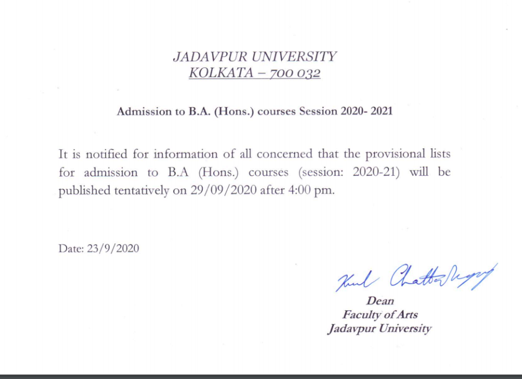 Jadavpur University Merit List 2021 BSc BA Hons Admission Result