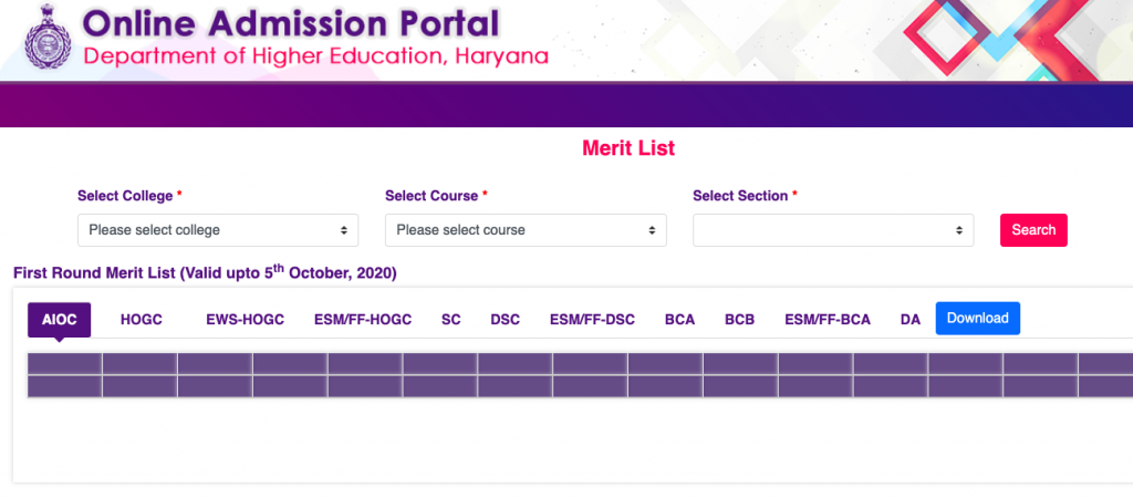 dheadmissions.nic.in hisar merit list downloading window 2021-22
