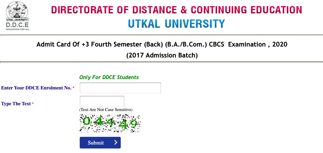 Utkal University Admit Card 2021 Semester UG, PG Exams