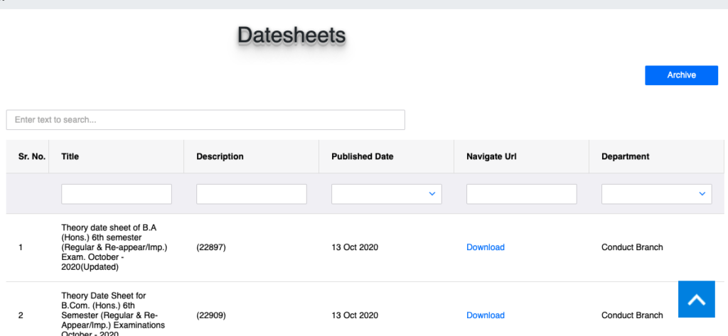 mdu all date sheet downloading links