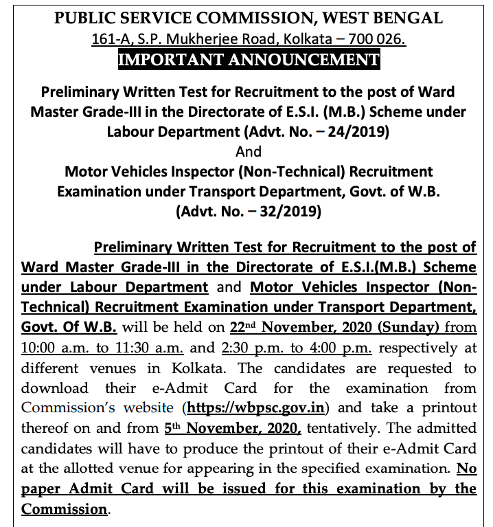 WBPSC Ward Master Admit Card 2020 Exam Date 22 November