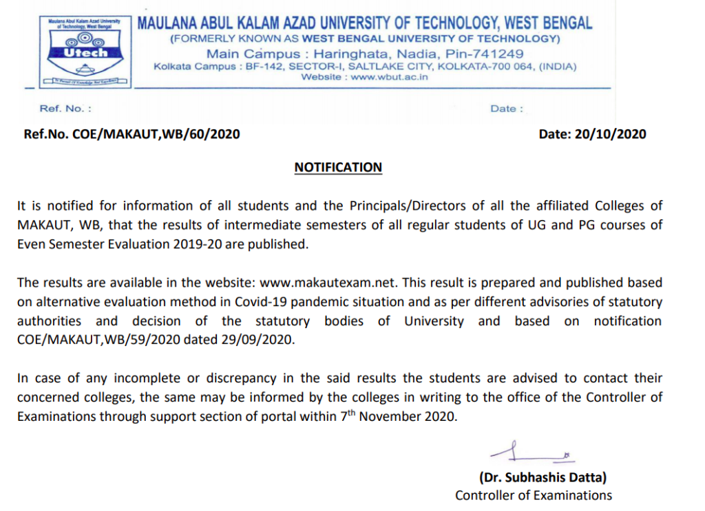 makaut interediate semester result release notice of all ug, pg exams - UG and PG courses of Even Semester Evaluation 2021