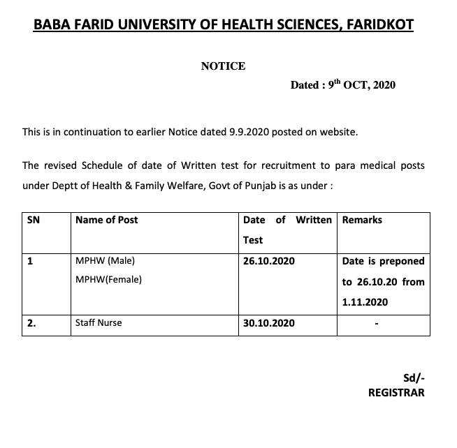 BFUHS Staff Nurse Admit Card 2020 Exam Date Out @ bfuhc.ac.in