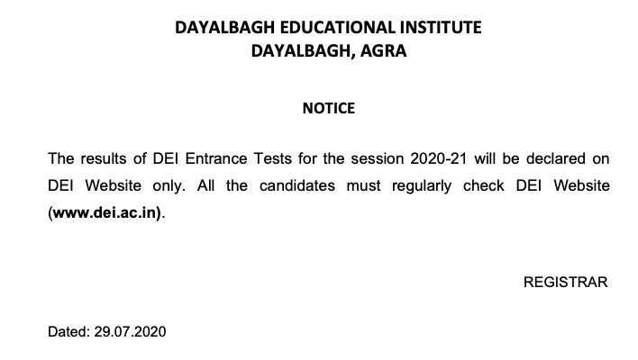 DEI Entrance Exam Result 2021 Interview Result Check
