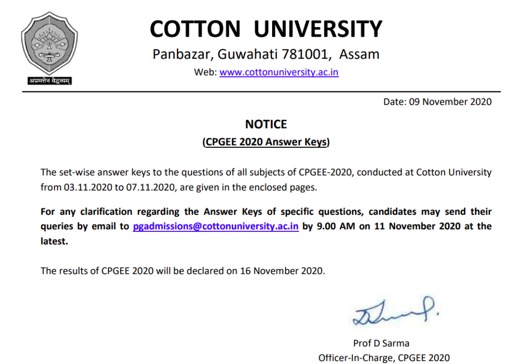 Cotton University CPGEE Merit List 2021 published here today