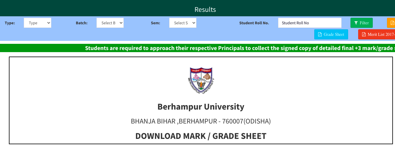 Berhampur University Result 2021(OUT) 1st 2nd 3rd 4th 5th 6th Semester buodisha.edu.in