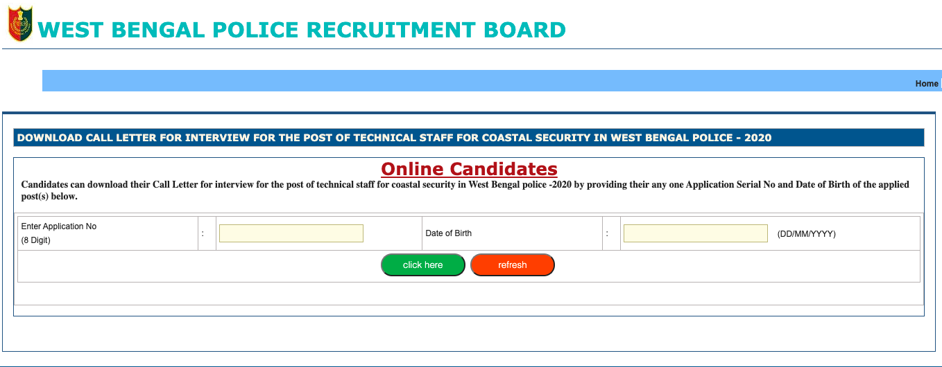 WB Police Constable Admit Card 2021(OUT) Exam Date Check Online