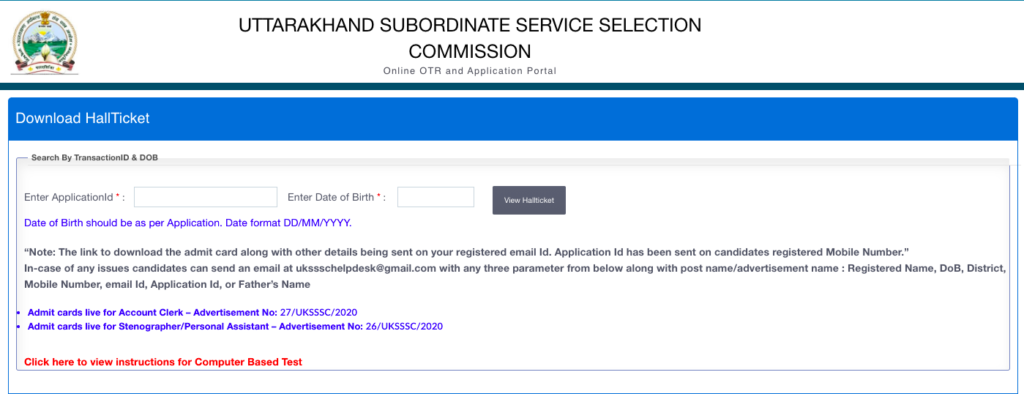 UKSSSC Junior Assistant Admit Card 2021 PA Steno Exam Date Download now!!