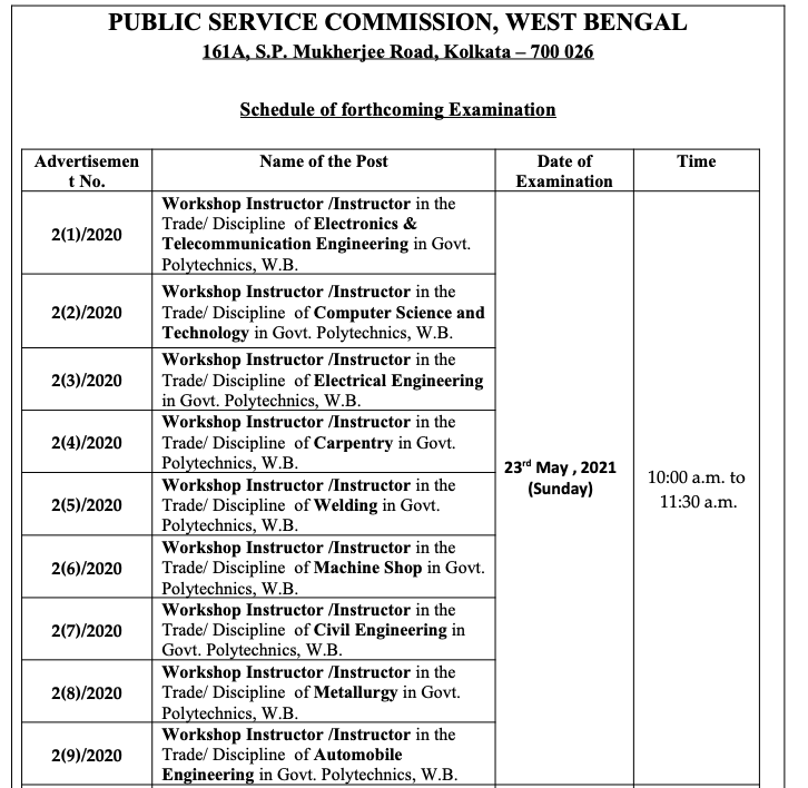 wbpsc workshop instructor exam date notice. written exam to be conducted on 23 May 2021 - admit card download link to be is