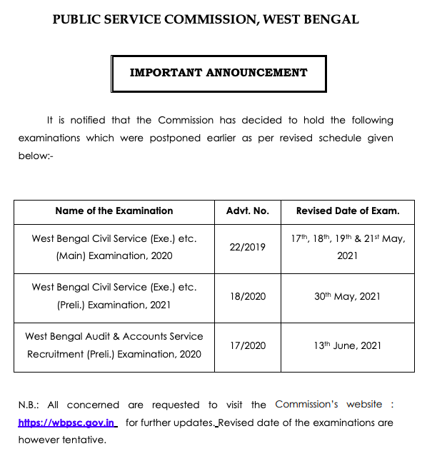 new revised exam date for wbcs 2021 exam