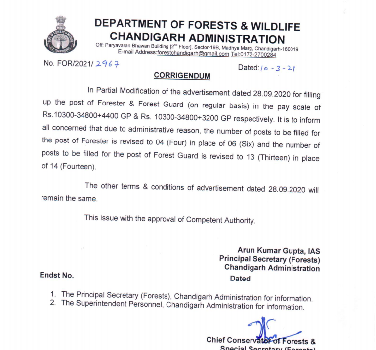 Chandigarh Forest Guard Admit Card 2021 Exam Date {out} Download