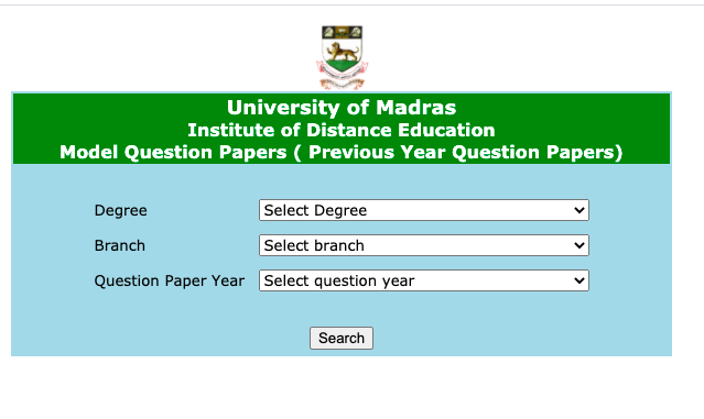 unom.ac.in Madras University Question Papers download for Ba bsc bcom
