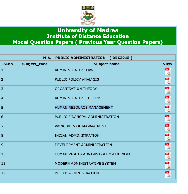download madras university distance education previous years question paper pdf