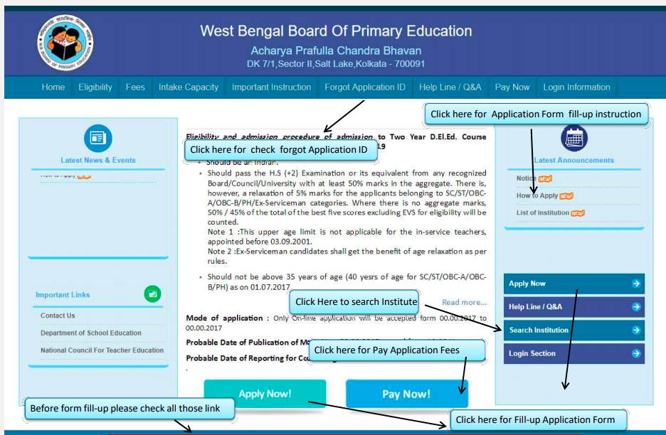 WB Primary TET Application Form 2021 WBBPE Online Form Dates