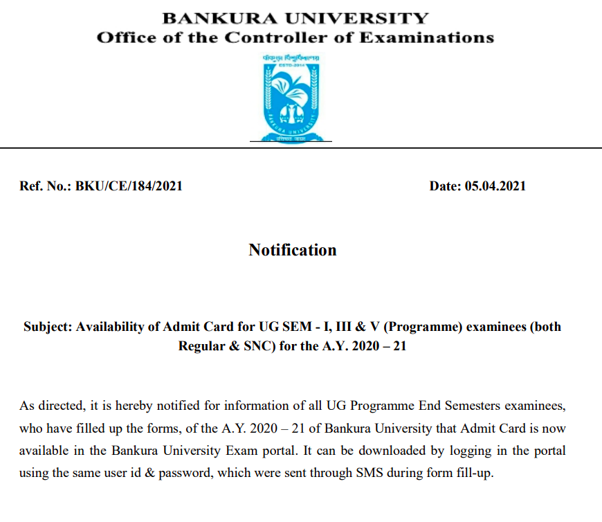 Bankura University Admit Card 2021 1st 3rd 5th Semester UG PG {out}