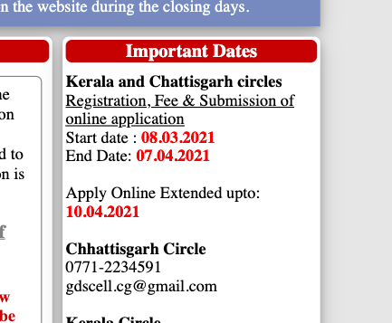 last date of chhattisgarh postal circle cycle 3 gds online application form extended notice 2021