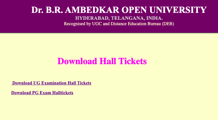 BRAOU Hall Ticket 2021 UG PG Admit Card Download braouonline.in