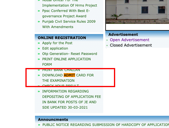ppsc.gov.in Download Admit Card for The Examination option