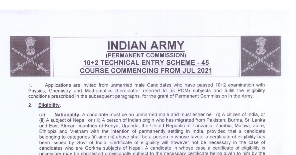 Indian Army TES Admit Card 2021 TES 45 Exam Date {SSB} Released