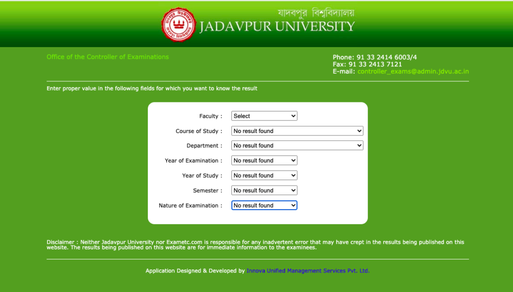 JU Result & Merit List Download