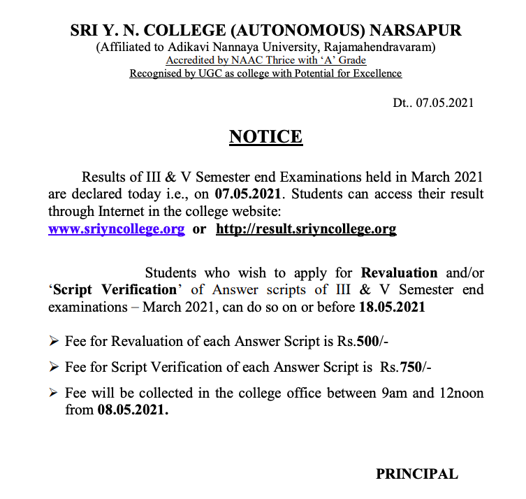 Sri YN College Degree Results 2021 3rd, 5th Semester {out} Check online